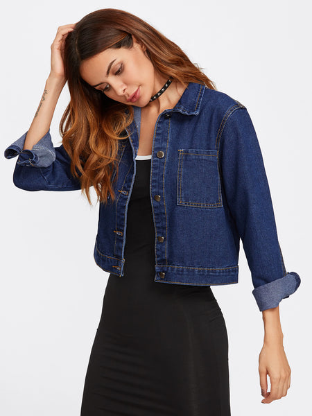 Blue Cropped Dual Pocket Denim Jacket
