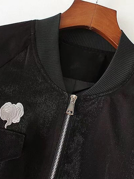 Brown Raglan Sleeve Back Embroidery Patch Zipper Jacket