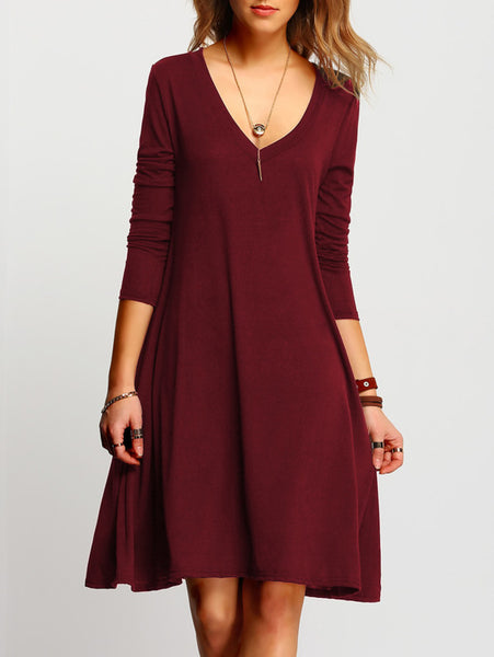 13d3ec57d28 Plain Burgundy V-Neckline Long Sleeve Swing Midi Dress