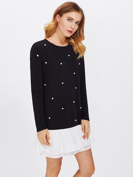 Black Color Block Round Neckline Pearl Beading Long Sleeve Contrast Layered White Ruffle Hem Tunic Mini Dress