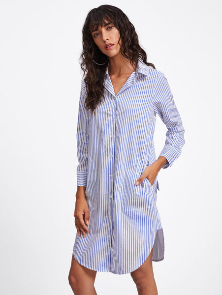 f20706158a9 Blue Curved Hem Overall Striped Lapel Neckline Long Sleeve Shirt Midi Dress