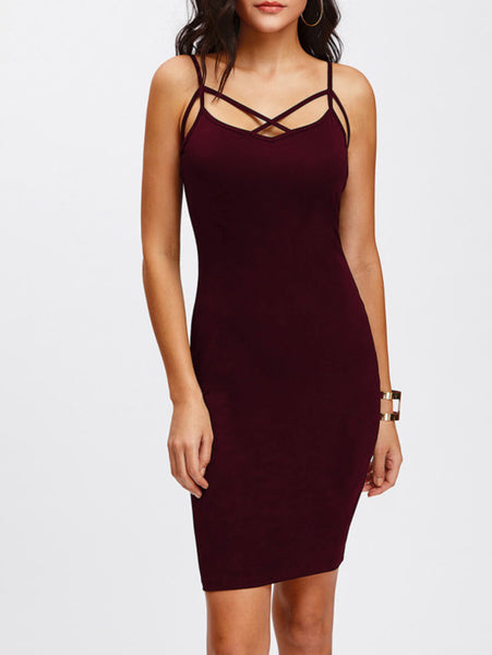 Burgundy Crisscross Front Adjustable Strap Cami Skinny Dress