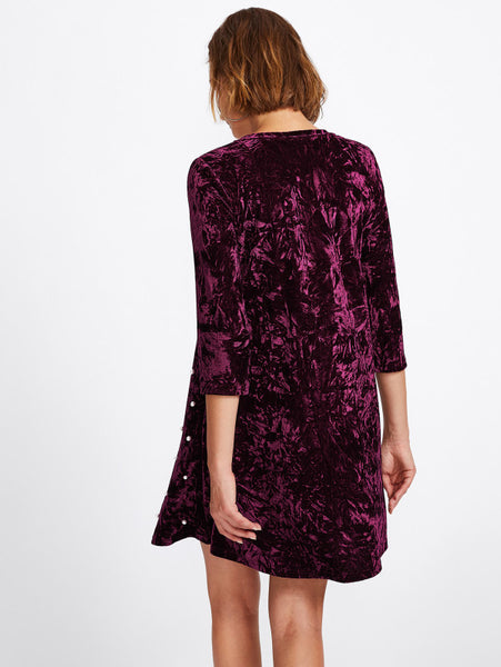Burgundy Overall Pearl Beading Round Neckline 3/4 Sleeve Crushed Velvet Mini Dress