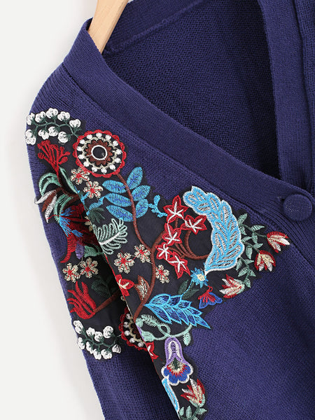 Blue Buttons Up Embroidered Patch Detail Side Slit Sweater