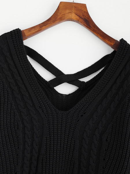 Black Double V-Neck Criss Cross Side Slit Sweater