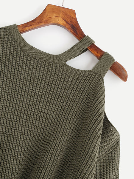 Green Drop Shoulder Ladder Design Jumper