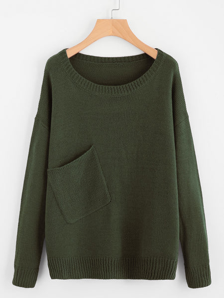 Green Round Neck Front Pocket Drop Shoulder Sweater