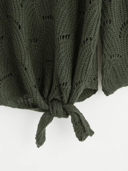 Green Knotted Front Scoop Neck Loose Knit Sweater