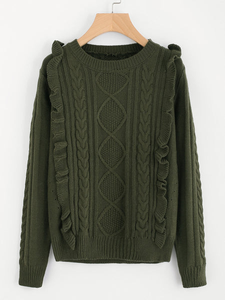 Green Round Neck Frill Front Mixed Knit Jumper