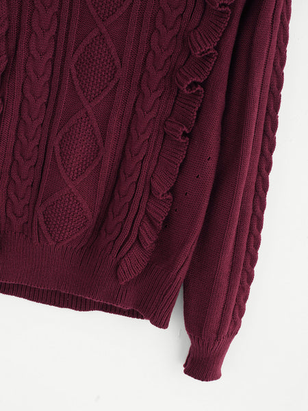 Burgundy Round Neck Frill Front Mixed Knit Jumper