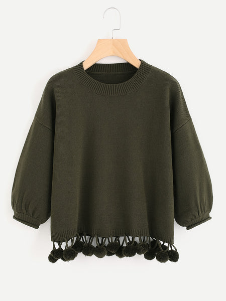 Green Lantern Sleeve Dropped Shoulder Pom Pom Hem Sweater