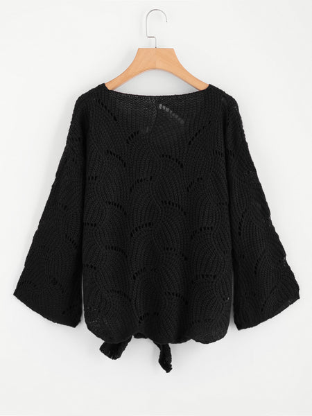Black Knotted Front Scoop Neck Loose Knit Sweater