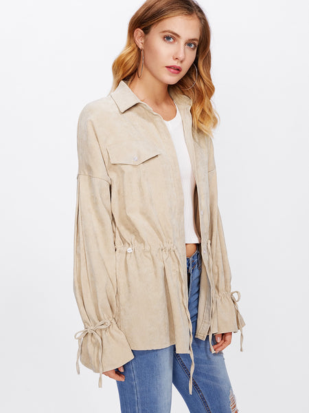 Apricot Waist Shirt Jacket And Drawstring Cuff