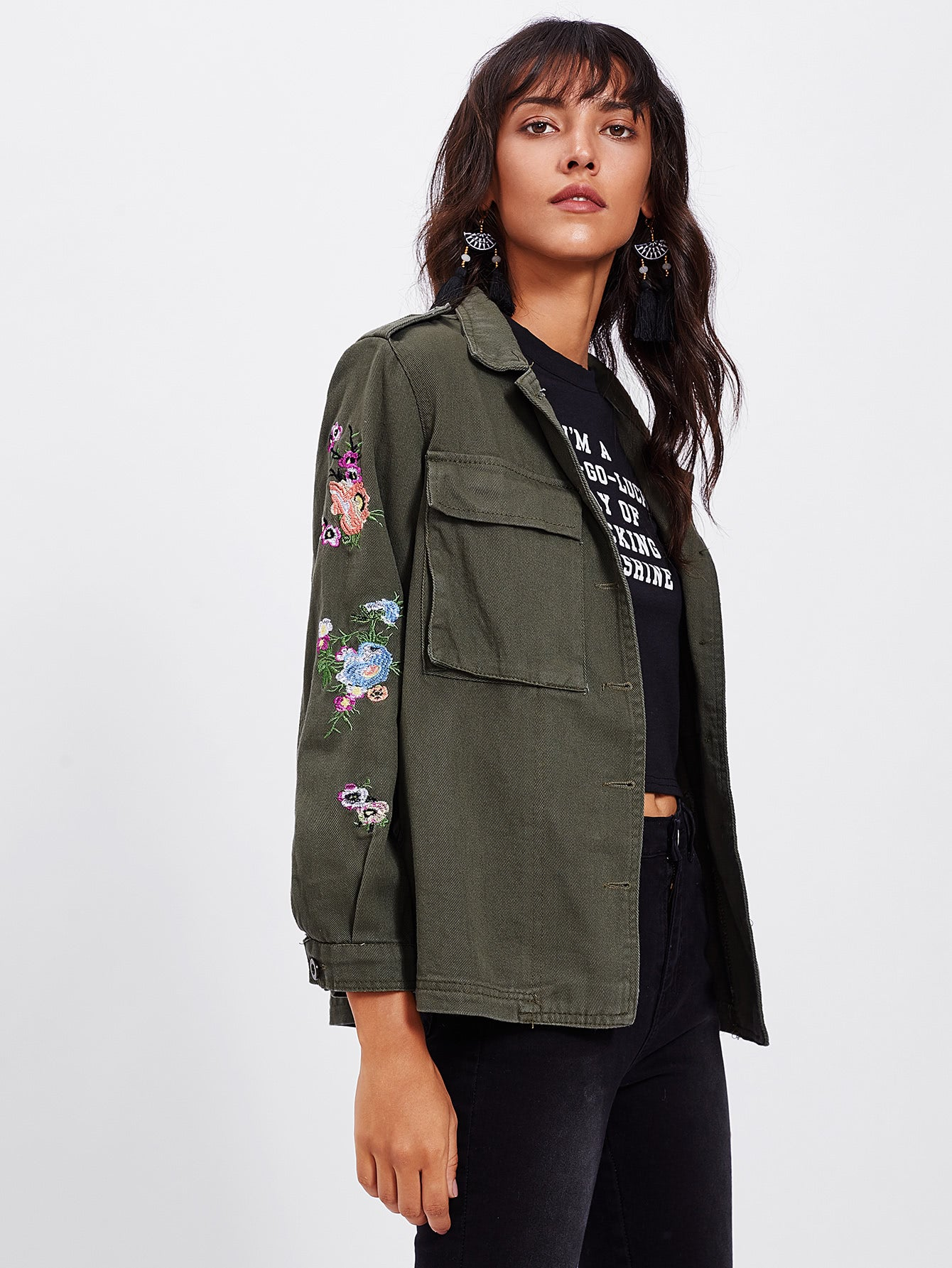 Army Green Botanical Embroidered Letter Print Jacket