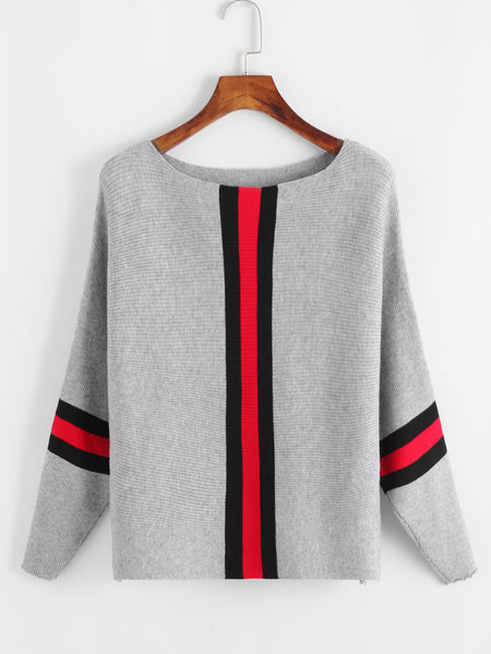 Grey Contrast Striped Scoop Neck Trim Knit Sweater