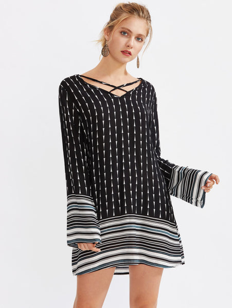 Black Overall Random Striped Print Hem Criss Cross Front V-Neckline Long Sleeve Mini Dress