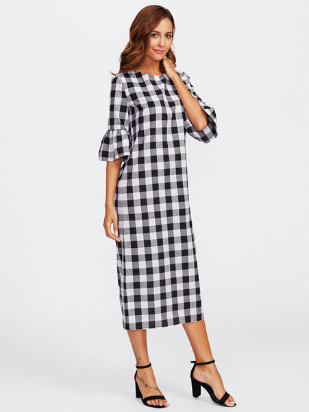 Black And White Overall Checkered Round Neckline Bell 3/4 Sleeve Buttoned Keyhole Back Gingham Maxi Dress