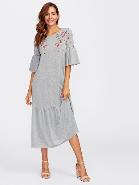 Grey Floral Blossom Print Round Neckline Fluted 3/4 Sleeve Tired Hem Maxi Dress