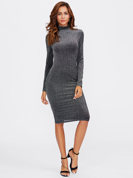 4c8d36191524 Plain Silver Glitter Form High Neckline Long Sleeve Fitting Midi Dress