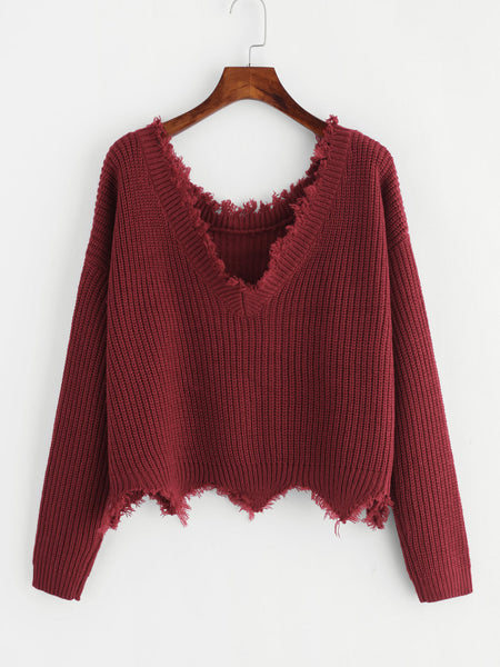 Burgundy V-Neck Raw Cut Edge Jumper