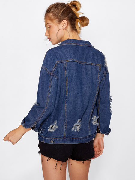 Blue Denim Ladder Cut Out Ripped Jacket