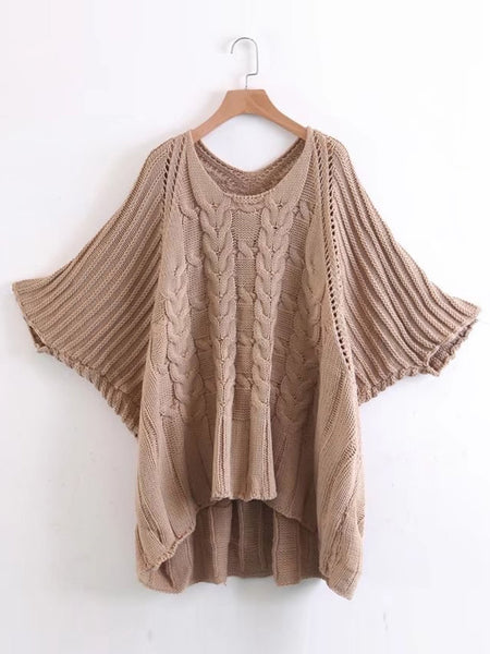 f076e55467 Khaki Cable Knit Scoop Neck Batwing Sleeve Oversized Sweater – Lyfie