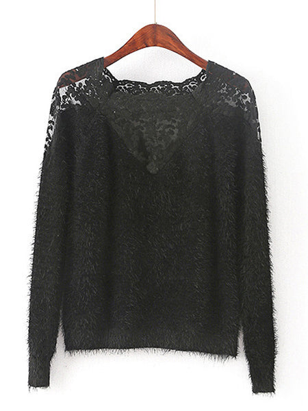 Black Raglan Sleeve Lace Insert Mohair Sweater