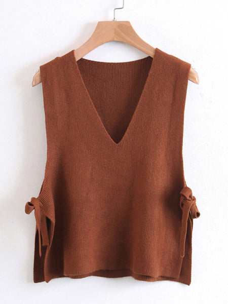Brown V-Neckline Side Tie Knit Vest