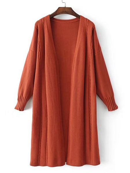 Brown Open Front Loose Longline Cardigan