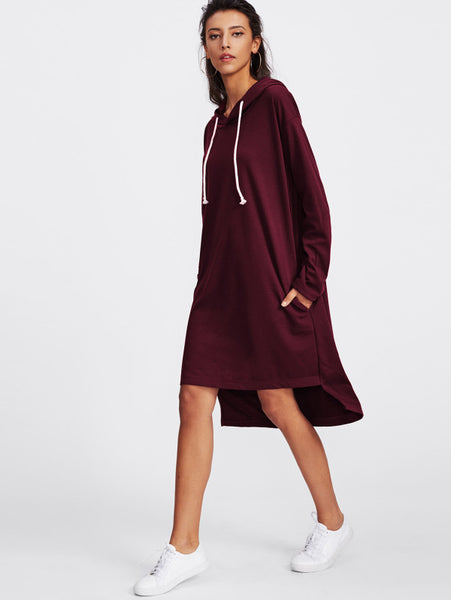 Burgundy Varsity Striped Side Pockets Dip Hem Long Sleeve Hoodie Midi Dress