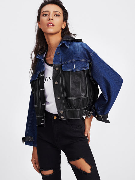 Black And Blue Denim Contrast Faux Leather Buckle Detail Jacket