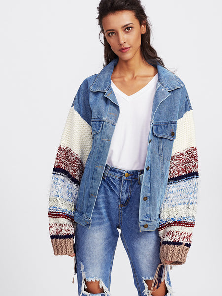 Blue Contrast Knit Sleeve Denim Jacket