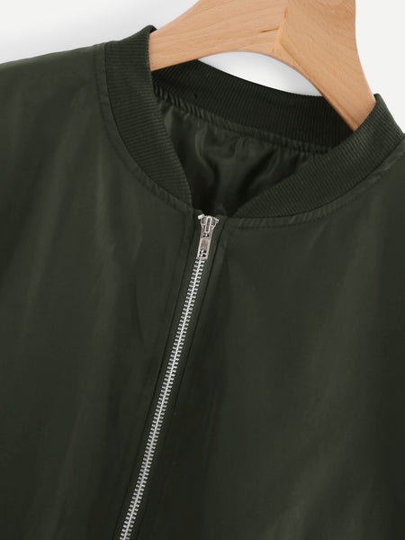 Army Green Bomber Ribbed Trim Jacket