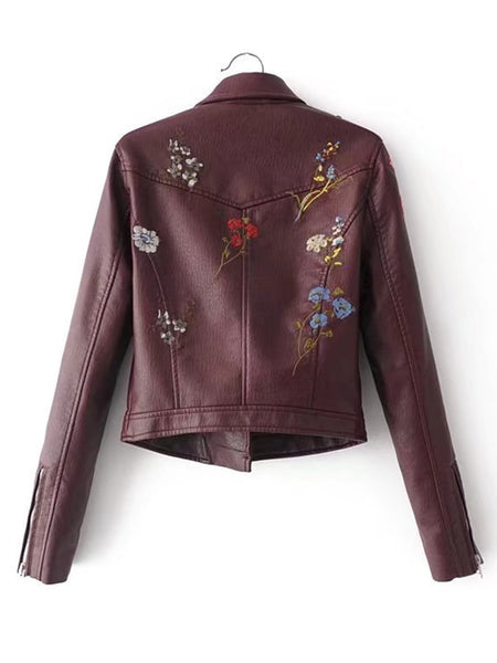 Burgundy Moto PU Jacket Embroidered Flower