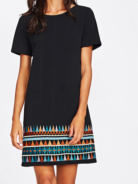 Black Round Neckline Short Sleeve Aztec Embroidered Hem Mini Dress