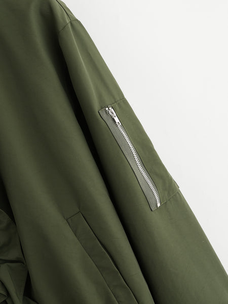 Green Frill Front Zip Up Bomber Jacket