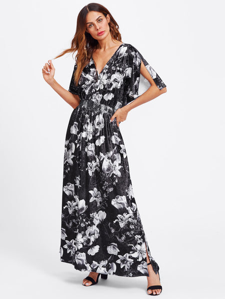 Black And White Overall Floral Print Deep V-Neck Batwing Split Sleeve And Split Side Lower Shirred Waist Maxi Dress