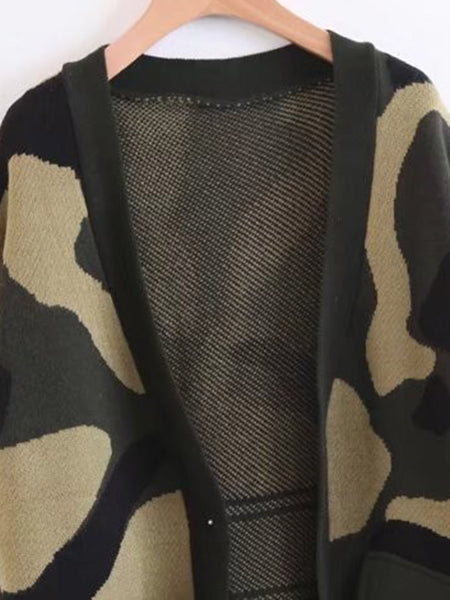Green Open Front Fake Pocket Camo Long Sweater