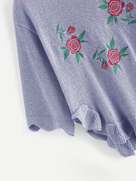 Blue Floral Embroidered Frill Dip Hem Sweater