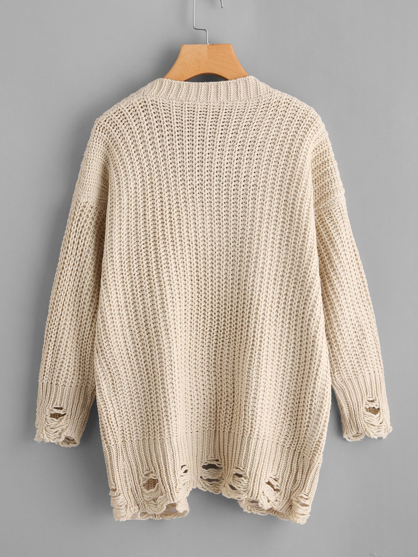 Apricot Open Front Ripped Trim Knit Cardigan Sweater