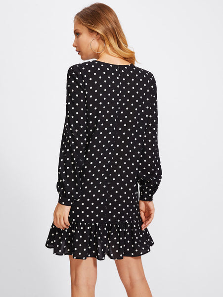 Black Allover Polka Dot Round Neckline Lantern Long Sleeve Frill Trim Mini Dress