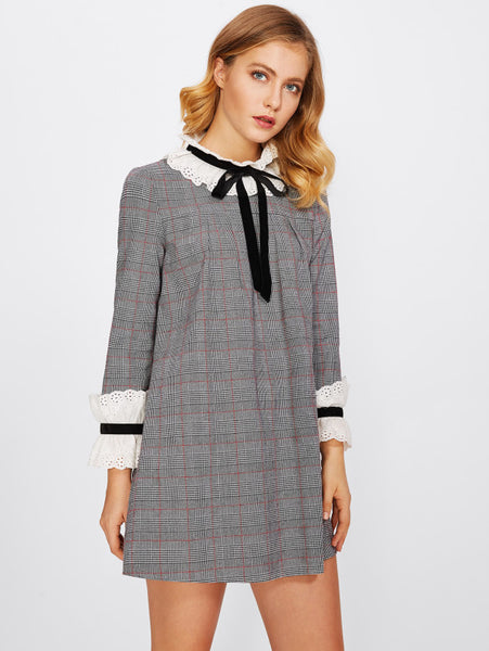 Black And White Eyelet Embroidered Frill Detail Allover Checkered Bow Band Collar Shift Tunic Long Sleeve Mini Dress