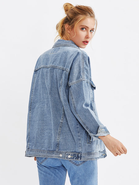 Blue Faded Denim Jacket Drop Shoulder