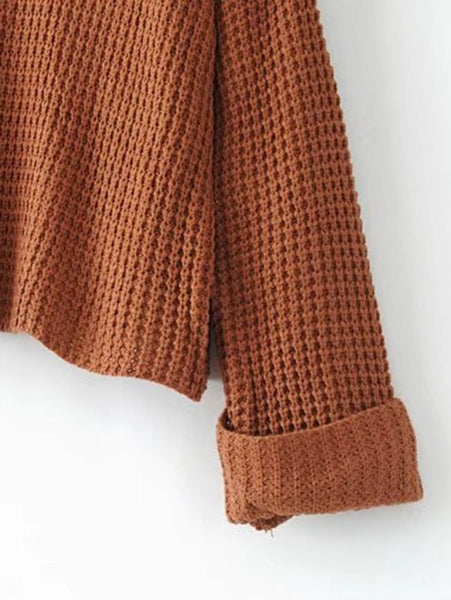 Camel Long Sleeve Turtleneck Waffle Knit Sweater