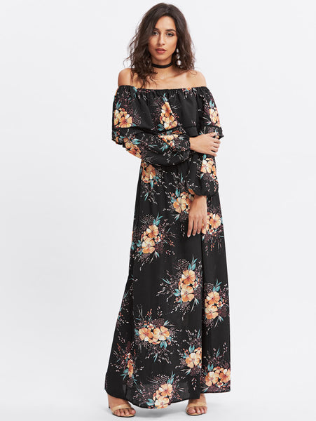 Black Overall Floral Print Layered Flounce Off Shoulder Lantern Long Sleeve Bardot Maxi Dress