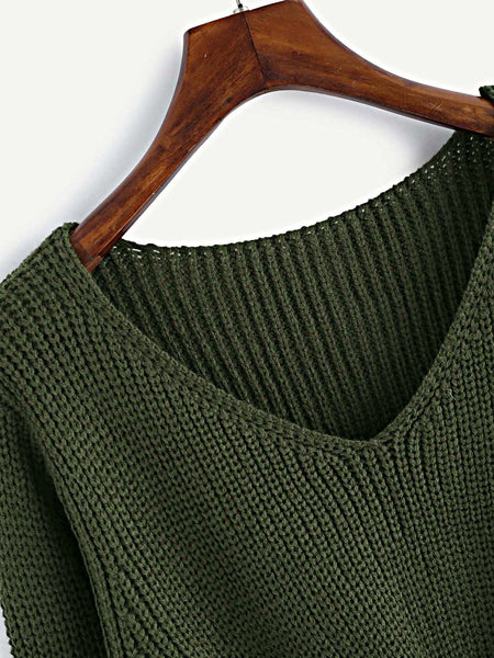 Green V-Neck Twist Front Loose Sweater