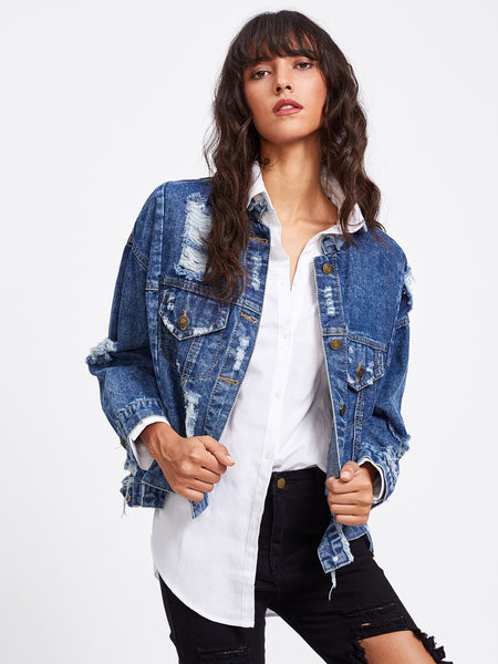 Blue Denim Embroidered Distressing Jacket