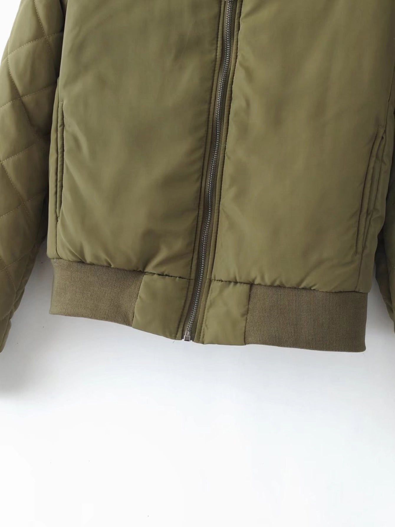 Army Green Quilted Zip Up Bomber jacket