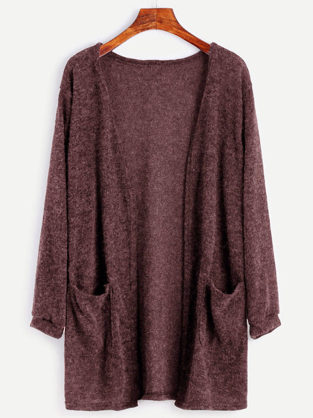Brown Open Front Dual Pocket Cardigan