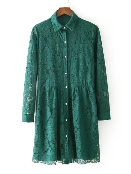 Green Overall Floral Lace Button Up Lapel Neckline Long Sleeve Shirt Mini Dress